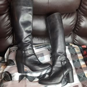 Leather boots high calf high heel knee lenght